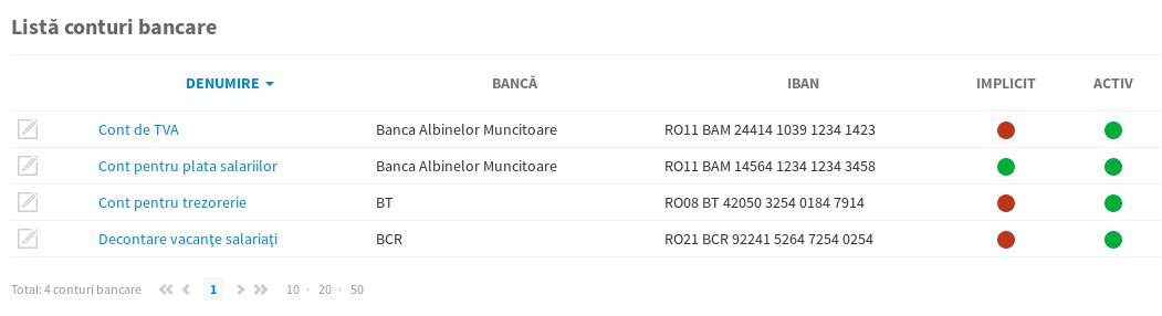 Listă conturi bancare · Ghidul Agraf